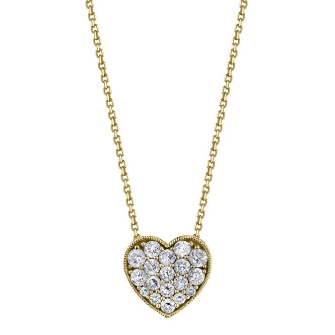 Heart-Shaped Diamond Necklace in Yellow Gold