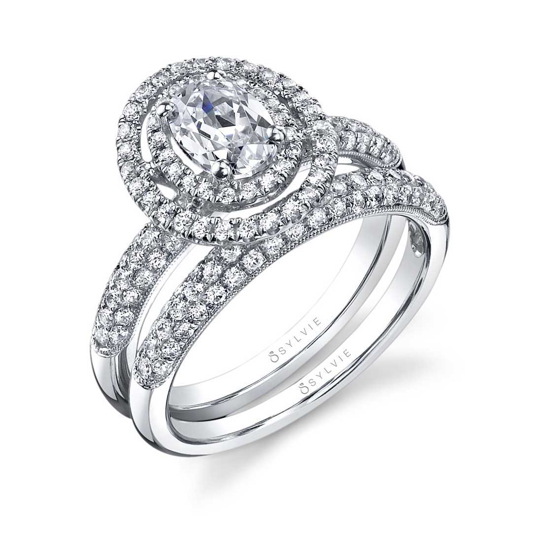 oval engagement ring with double halo sy688