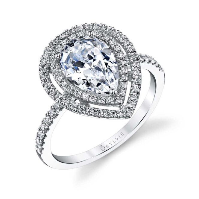 Pear Shaped Engagement Ring with Double Halo