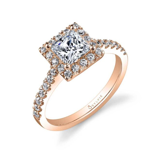 Rose Gold Princess Cut Engagement Ring with Halo