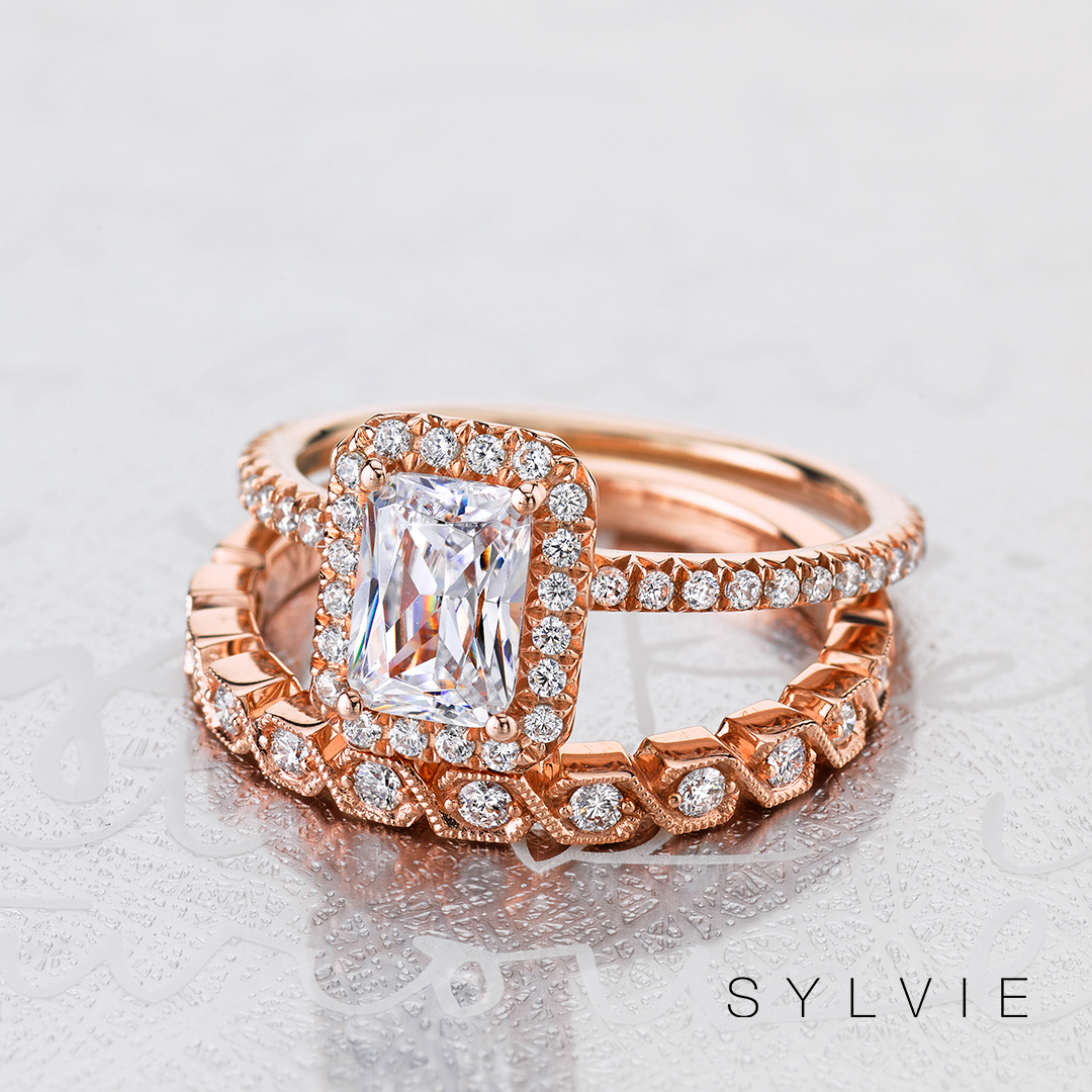 emerald cut engagement ring with halo - stackable band wedding set
