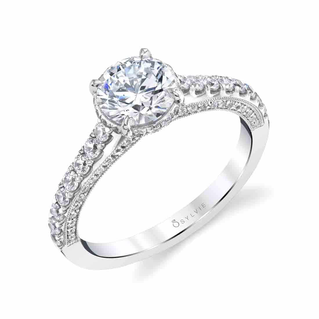 Unique Hidden Halo Engagement Ring