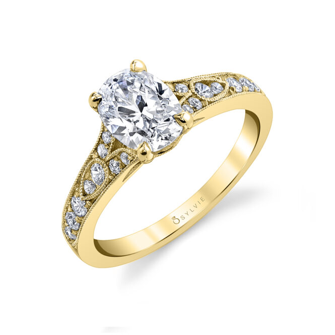 oval engagement ring sylvie S1389-OV-YG