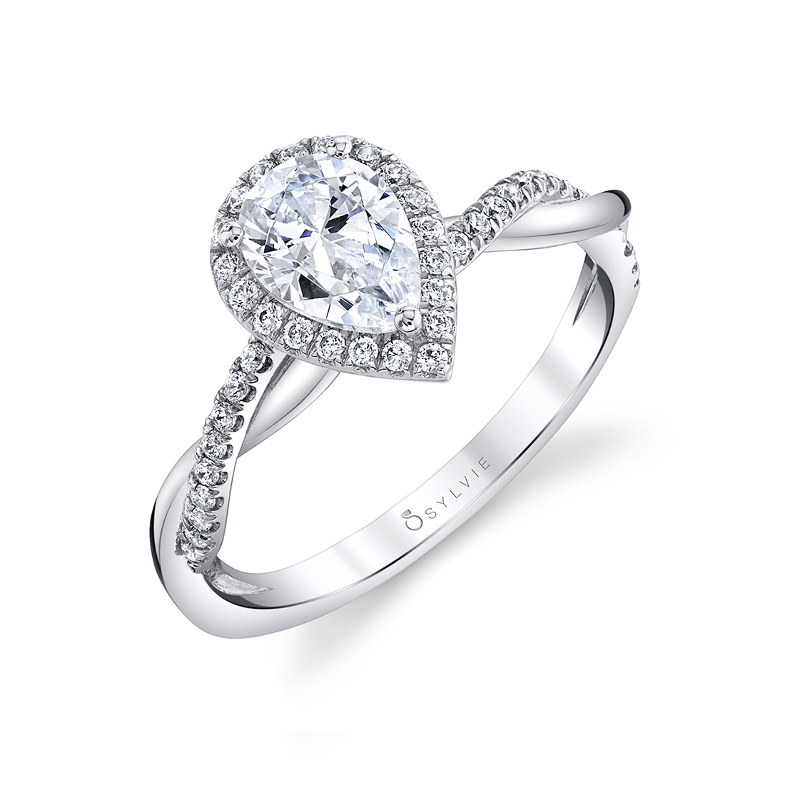 Modern Spiral Engagement Ring with Halo