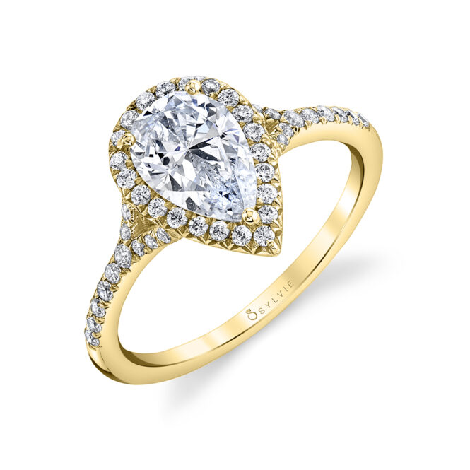 pear shaped engagement ring sylvie S1814-PS-YG