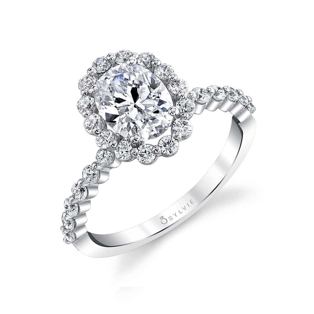 oval engagement ring S1P14-HALO-OV-WG Sylvie