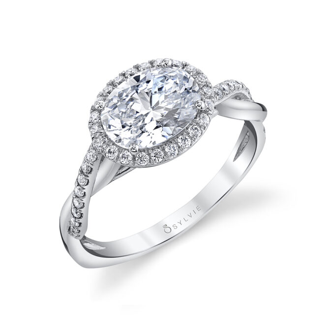 east west halo engagement ring sylvie-S2524