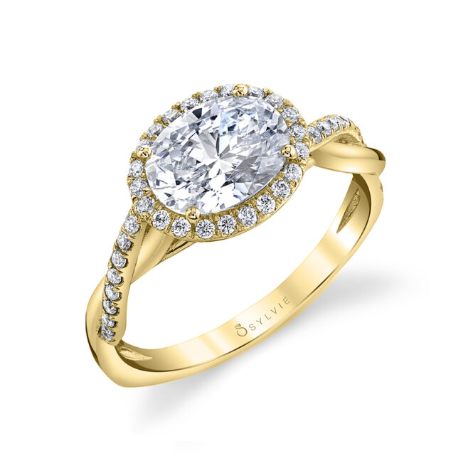east west halo engagement ring sylvie S2524-YG