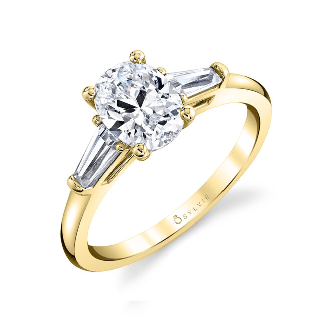 three stone engagement ring S3012-OV-YG
