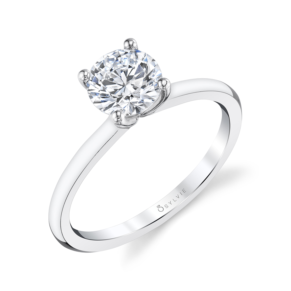 Side view of solitaire engagement ring - Sylvie