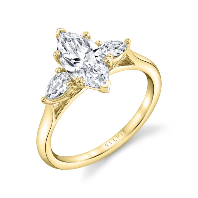 3 Stone Marquise Engagement Ring