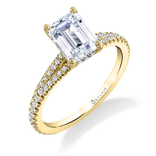 Emerald Engagement Ring S1700-EM in yellow gold