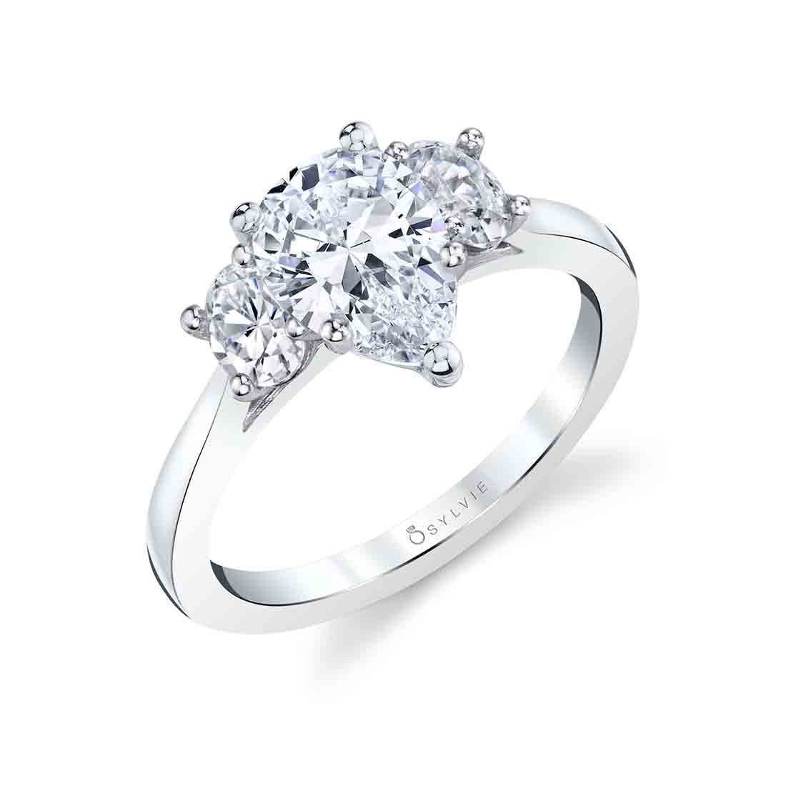profile view of a cushion cut 3 stone ring