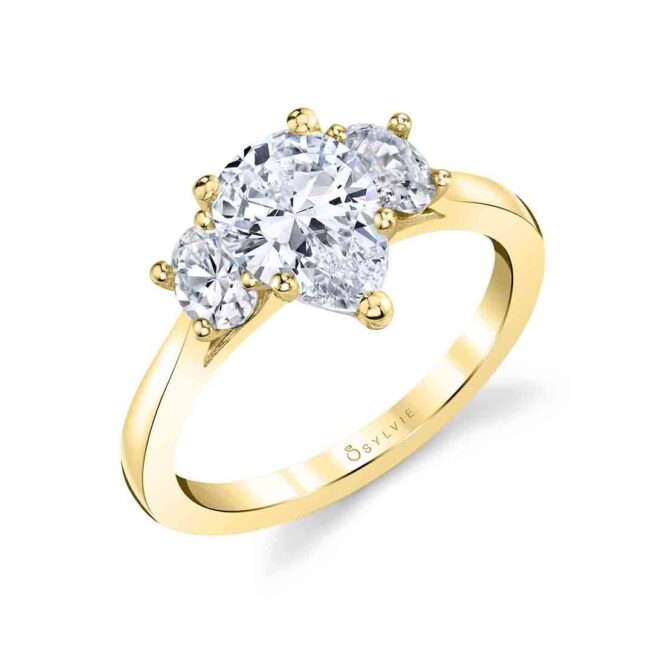 three stone pear engagement ring sylvie