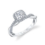 cushion cut halo engagement ring with spiral band
