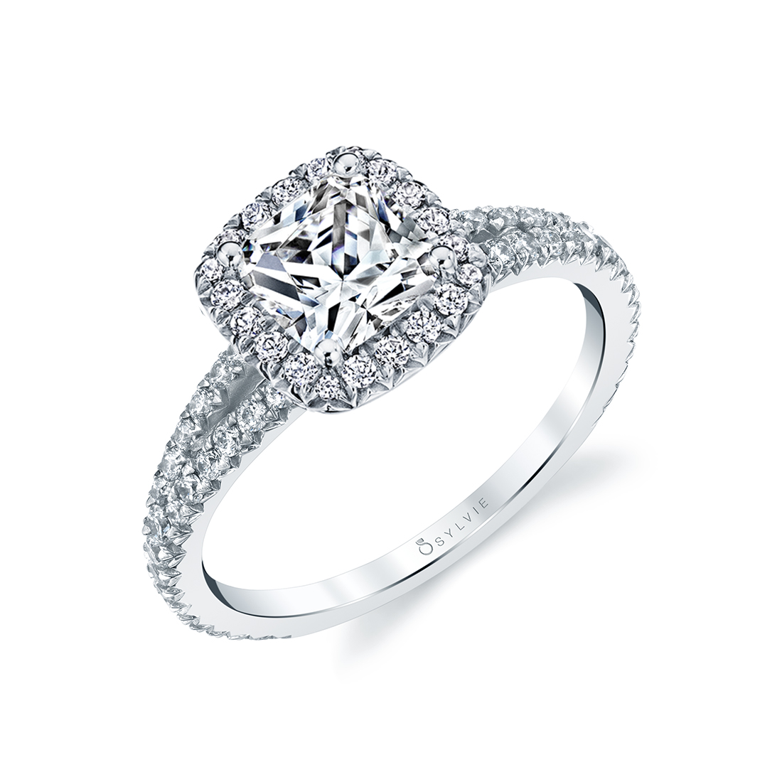side view image of halo engagement ring with split shank