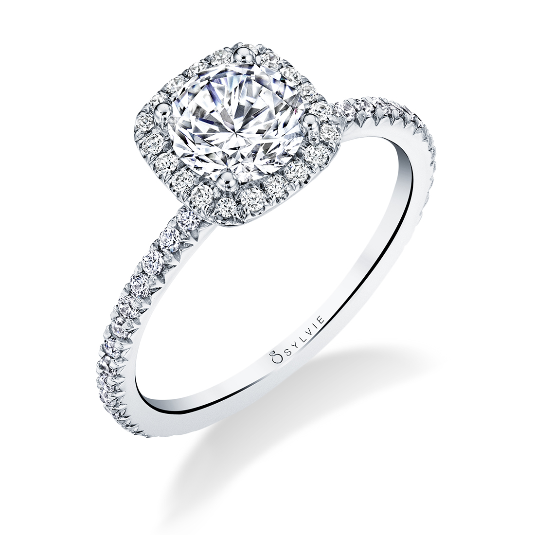 Profile Image of a Princess Cut Halo Engagement Ring