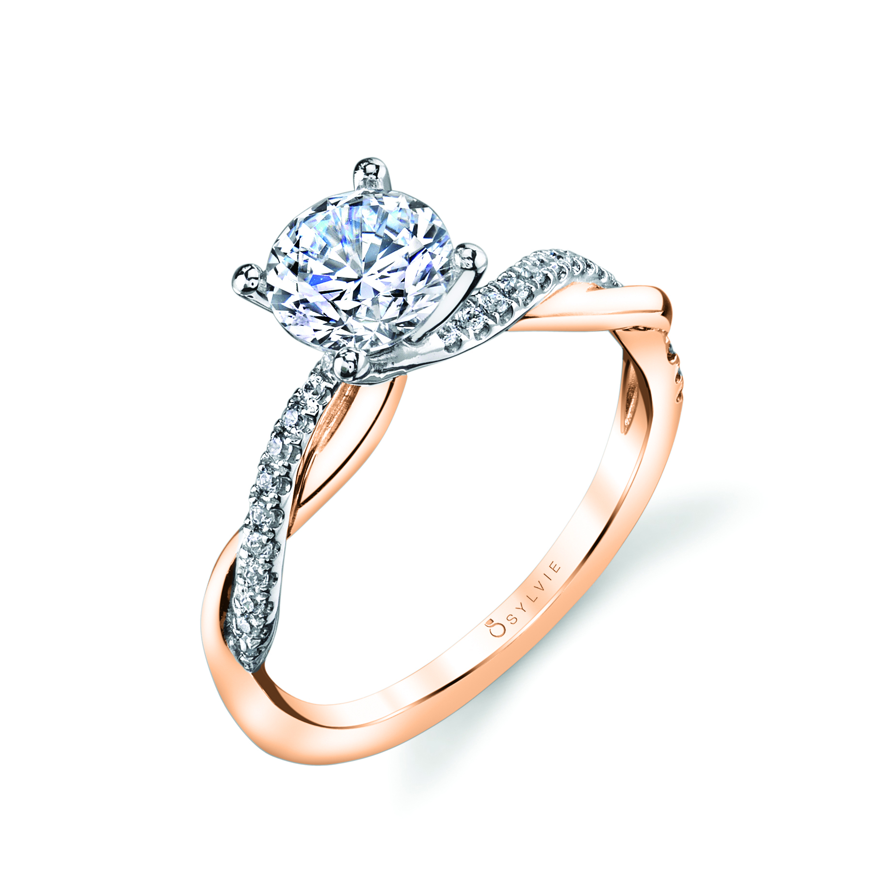 spiral engagement ring in rose gold two tone