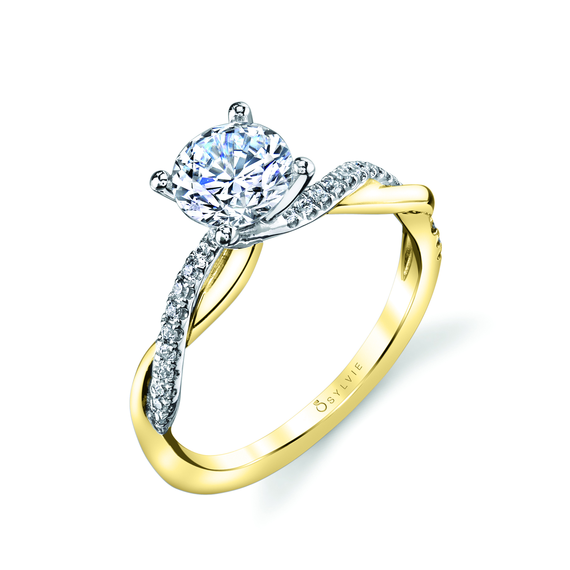 spiral engagement ring in yellow and white gold two tone