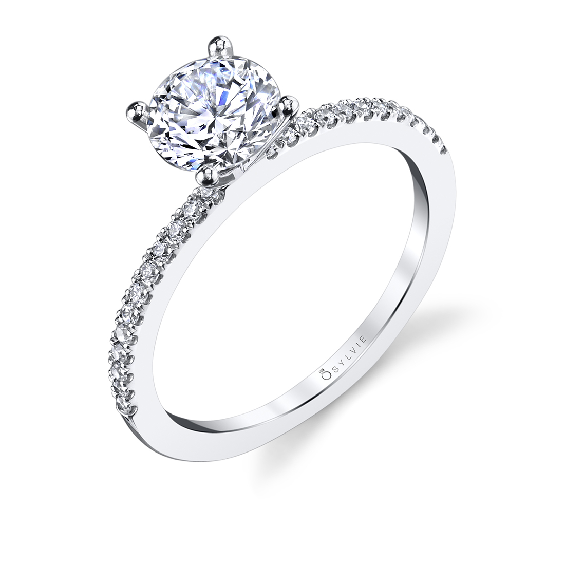 Pave Engagement Ring in White Gold - Carlotta