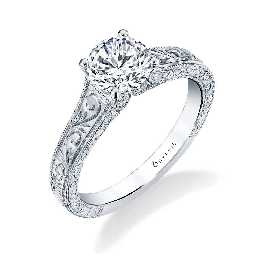 Hand Engraved Engagement Ring by Sylvie