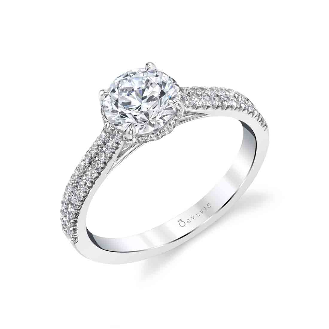 Hidden Halo Engagement Ring in White Gold - S1842 - Giovanna