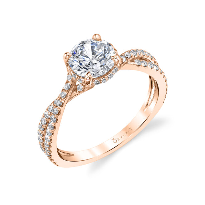 Hidden Halo Engagement Ring in Rose Gold - Mia