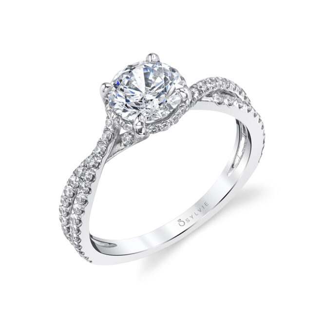 Hidden Halo Engagement Ring in White Gold - Mia
