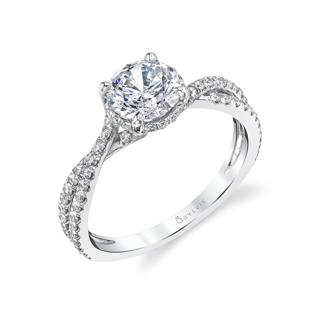 Hidden Halo Engagement Ring in White Gold - S1845 - Mia