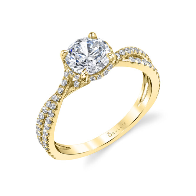 Hidden Halo Engagement Ring in Yellow Gold - Mia