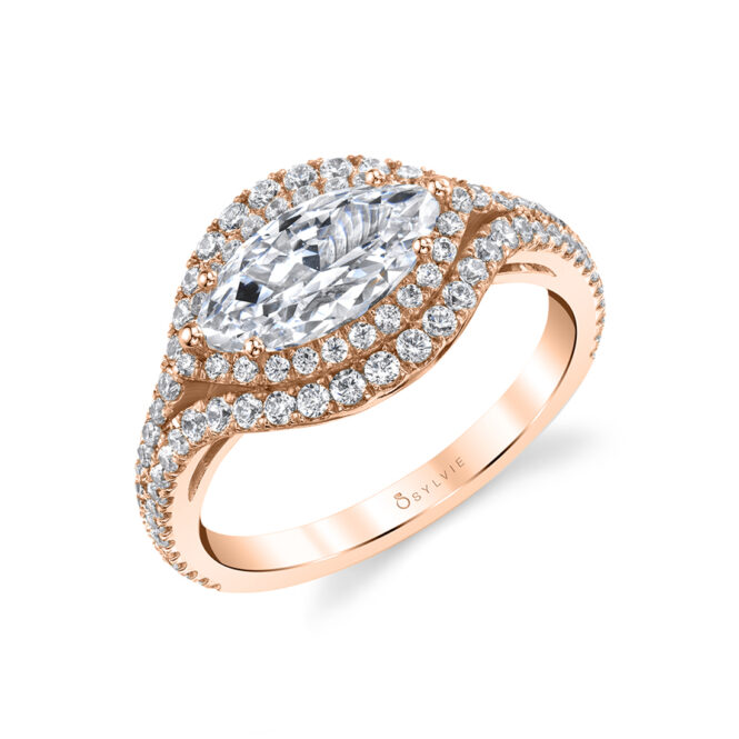 Marquise Shaped Ring with Halo in Rose Gold - Eleanora