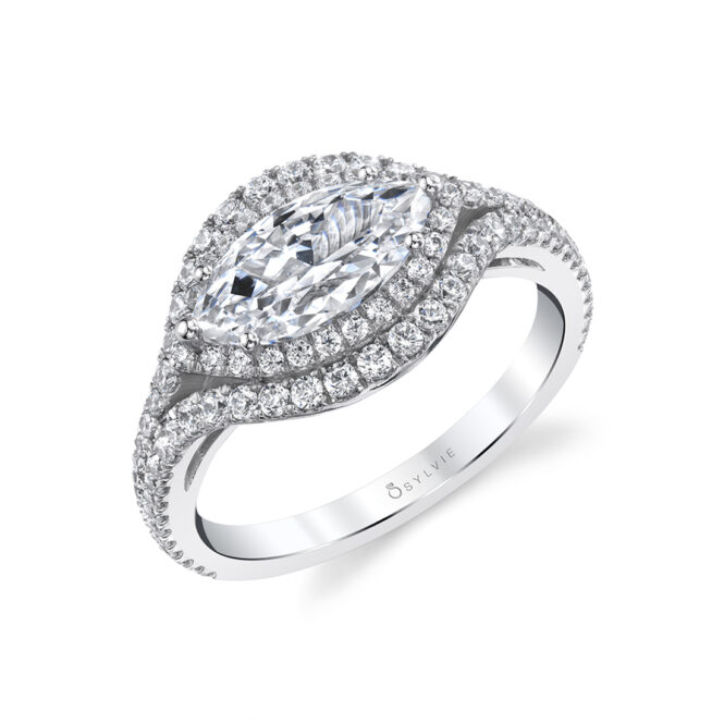 Marquise Shaped Ring with Halo in White Gold - Eleanora