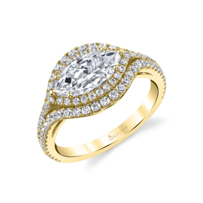 Marquise Shaped Ring with Halo in Yellow Gold - Eleanora