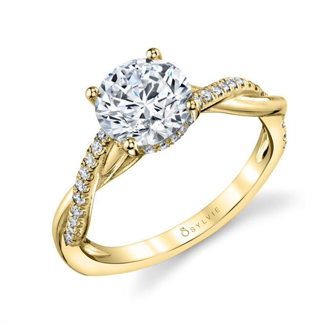 Spiral Engagement Ring with Hidden Halo in Yellow Gold - Claire
