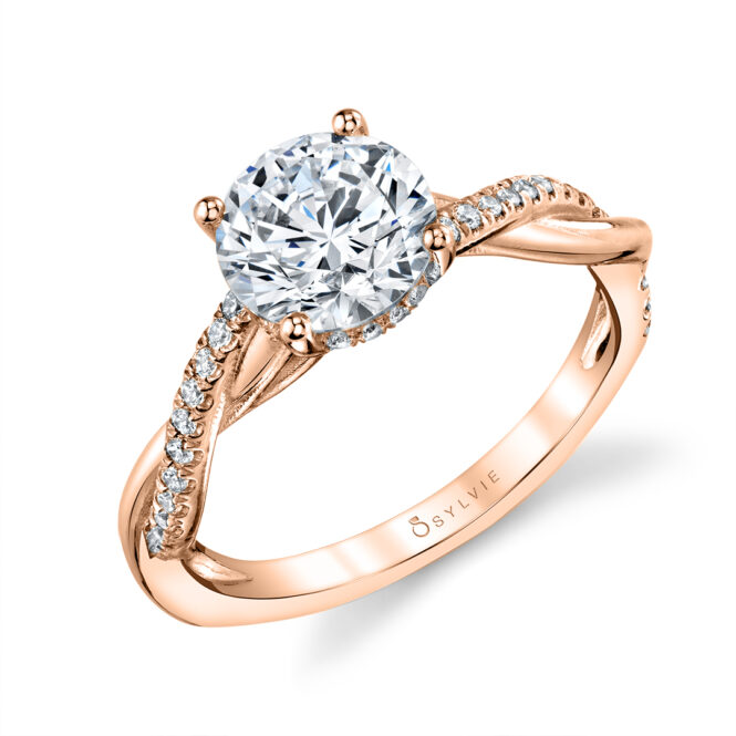 Spiral Engagement Ring with Hidden Halo - Claire