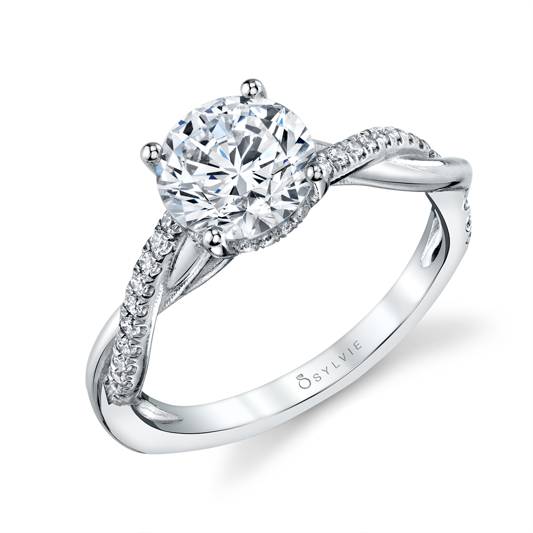 Spiral Engagement Ring with hidden halo in white gold
