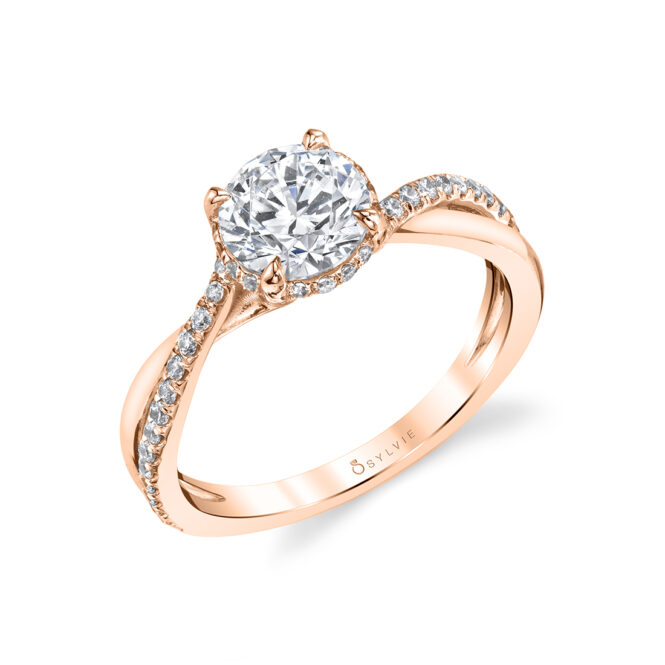 Spiral Engagement Ring with Hidden Halo in rose gold - Iliara