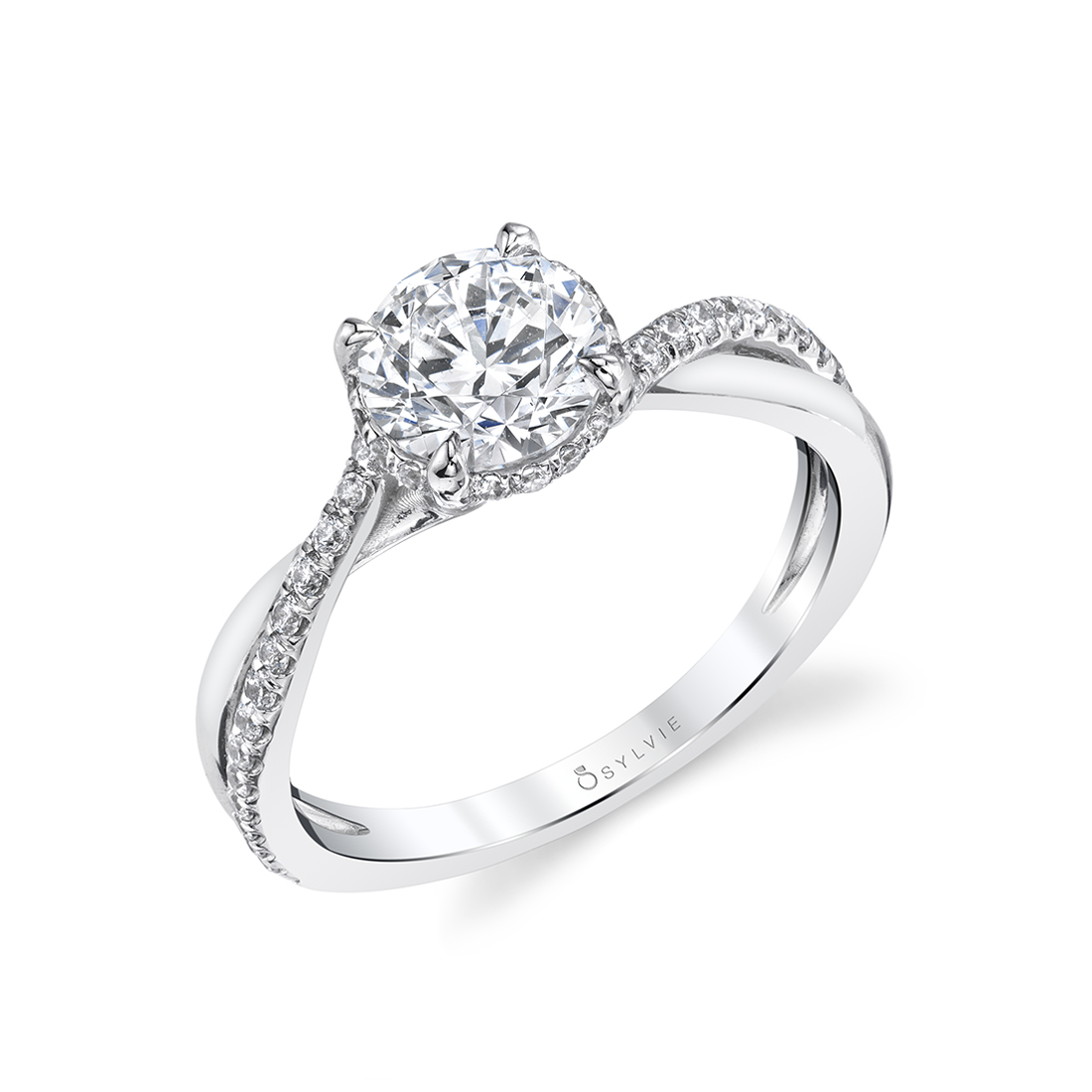 Spiral Engagement Ring with Hidden Halo in white gold - S1844 - Iliara
