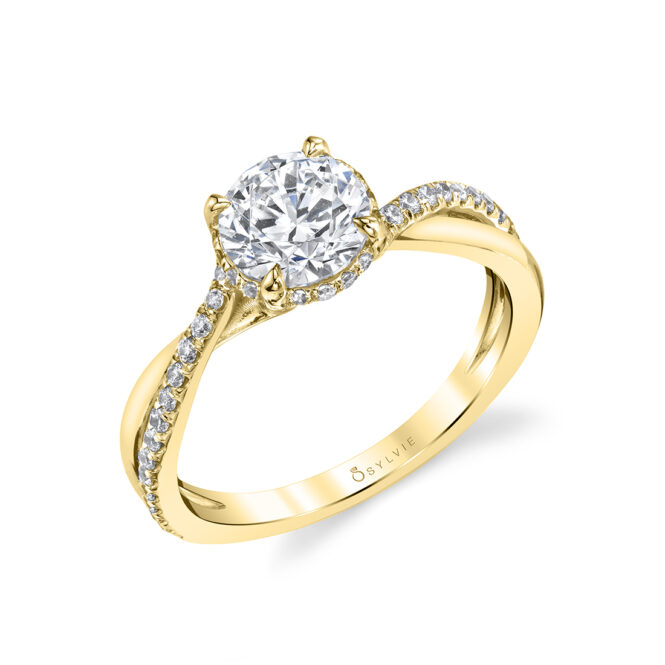 Spiral Engagement Ring with Hidden Halo in yellow gold - Iliara