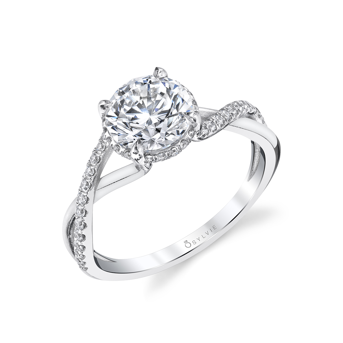 Spiral Engagement Ring with Hidden Halo in White Gold - Amahle - S1937