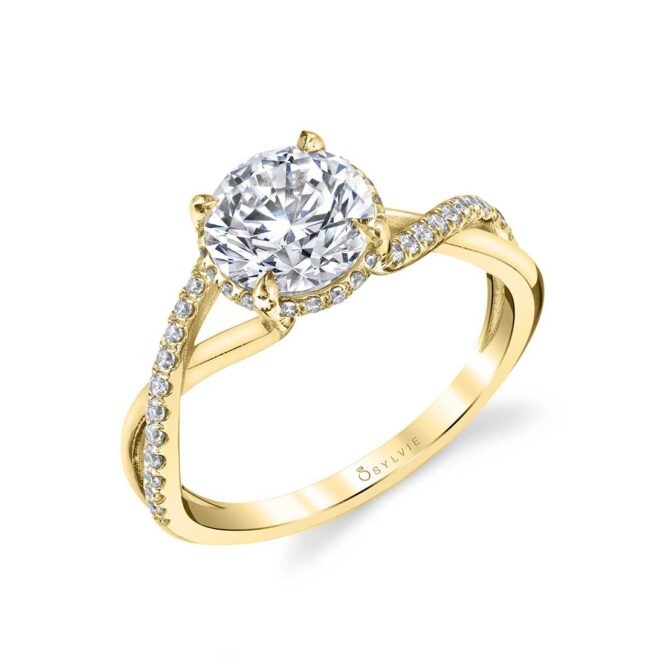 Spiral Engagement Ring with Hidden Halo in Yellow Gold - Amahle
