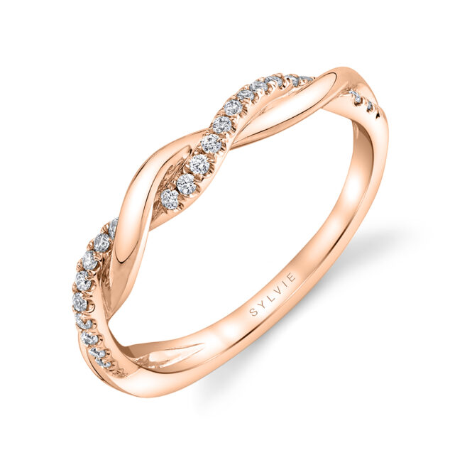 Spiral Wedding Band in Rose Gold