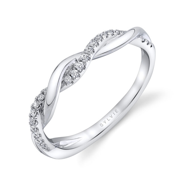 Spiral Wedding Band in White Gold