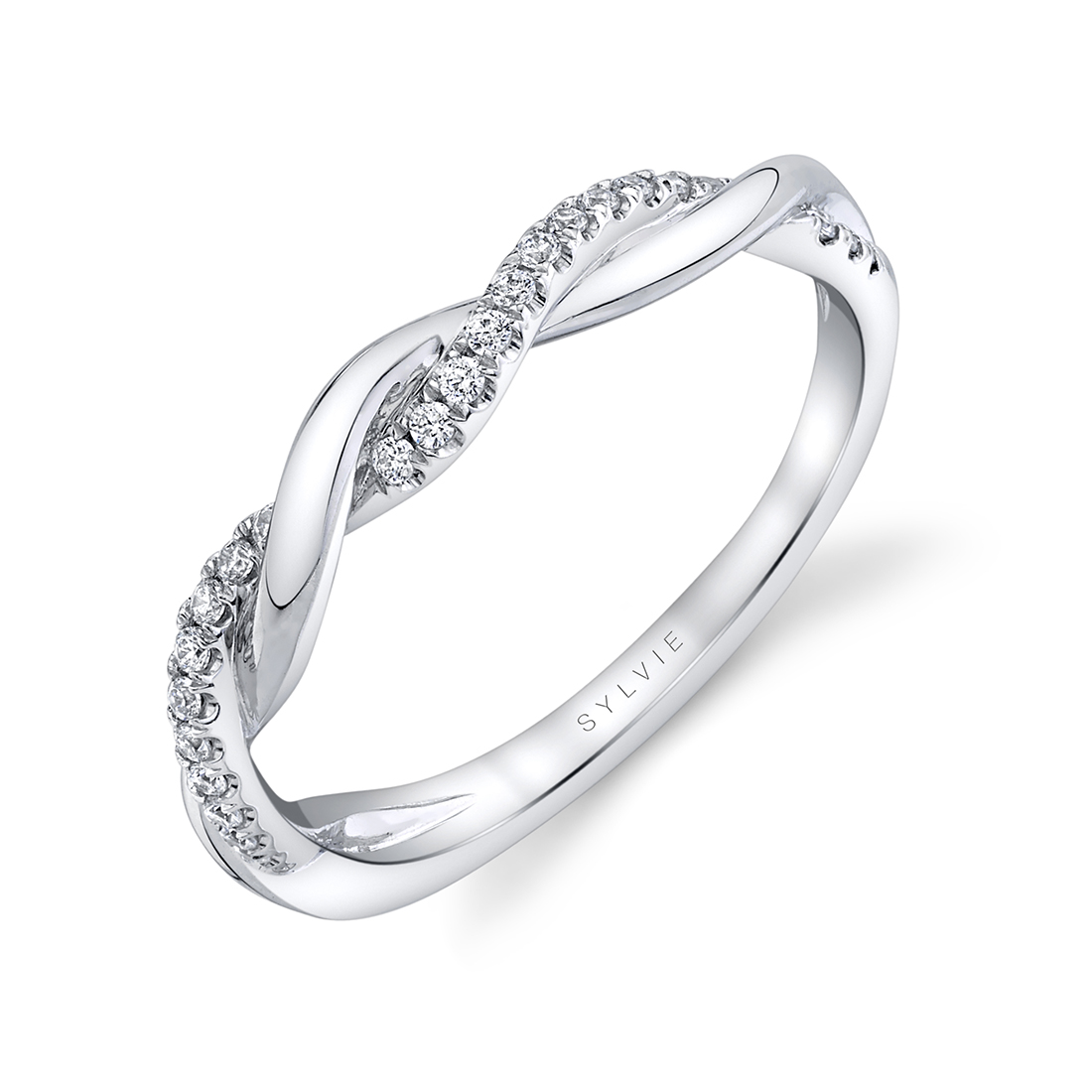Profile of Spiral Engagement RingS in white gold
