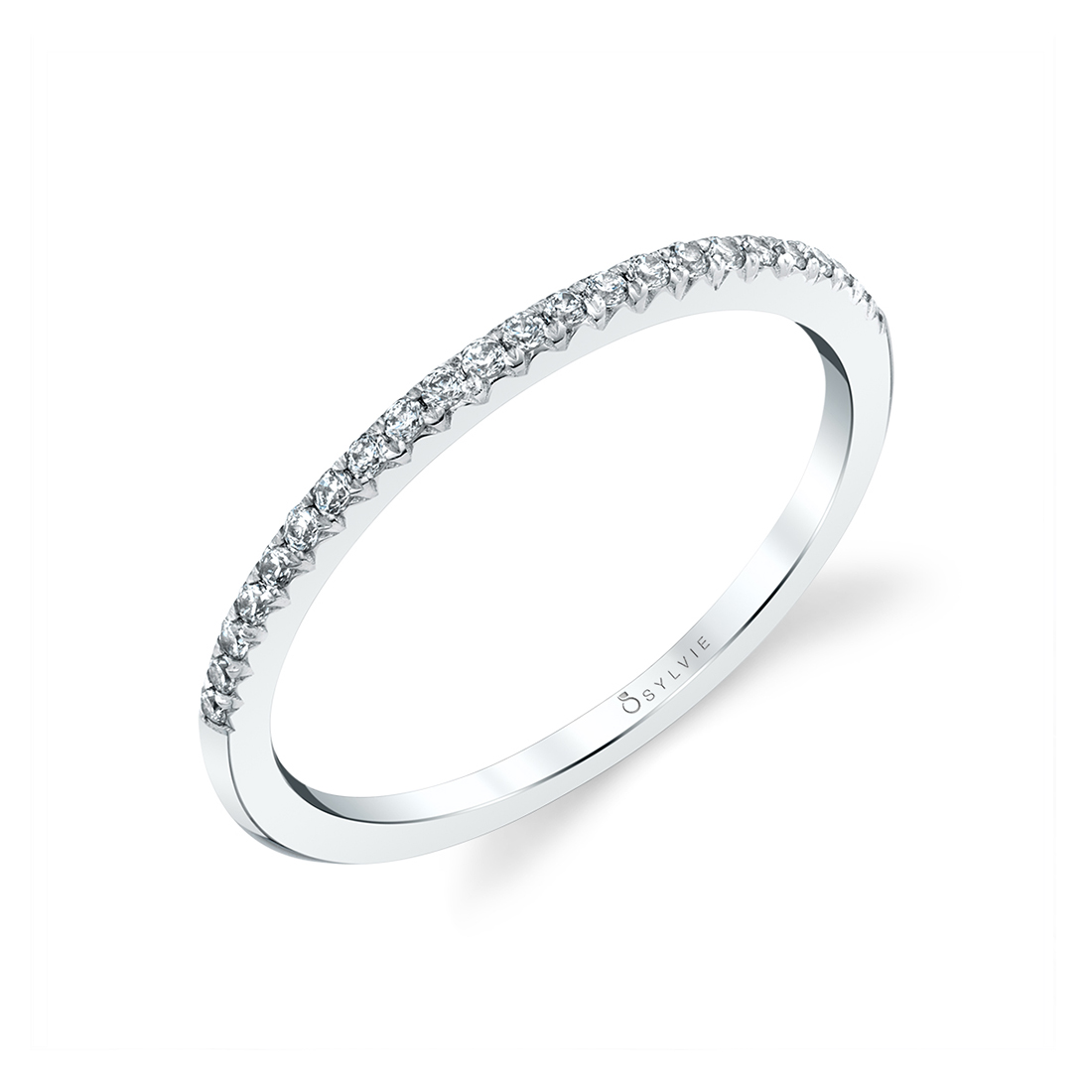 Thin Wedding Band in White Gold