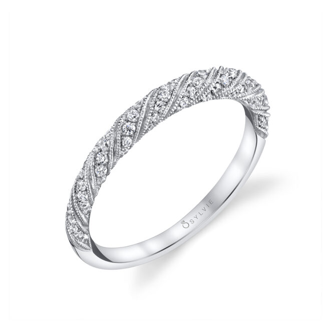 Unique Engagement Ring in White Gold