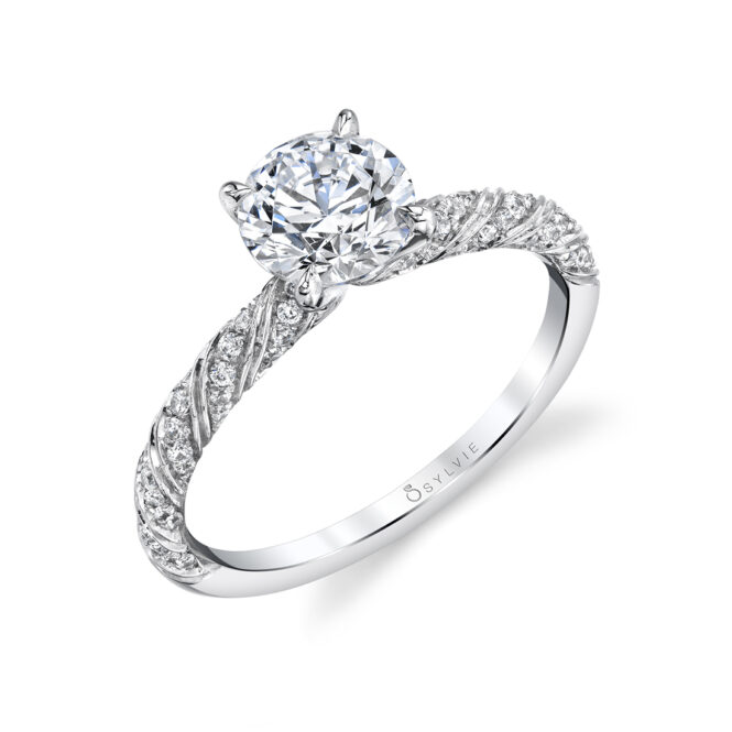 Unique Engagement Ring in white gold - Gianna