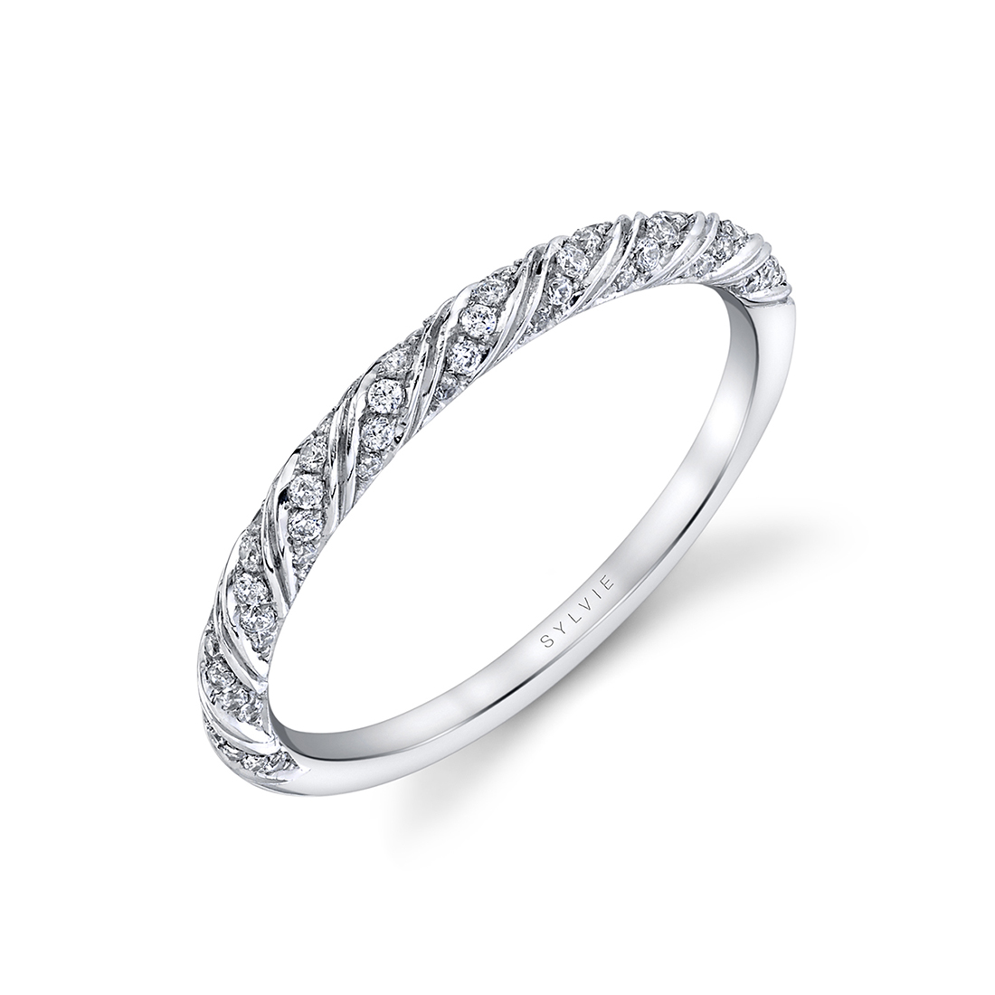 Unique Wedding Band in White Gold