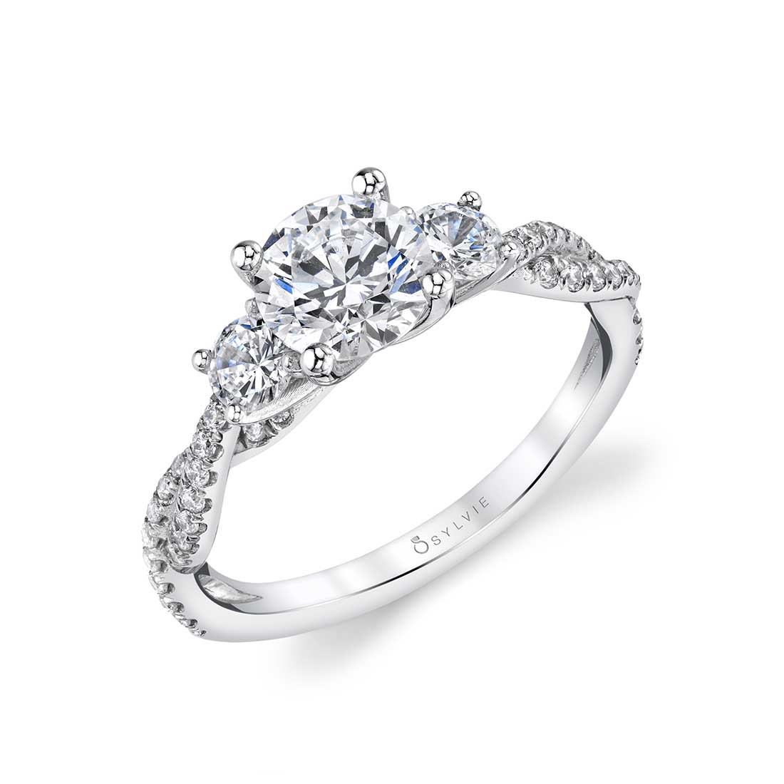 3 Stone Engagement Ring in White Gold - Gina - Sylvie