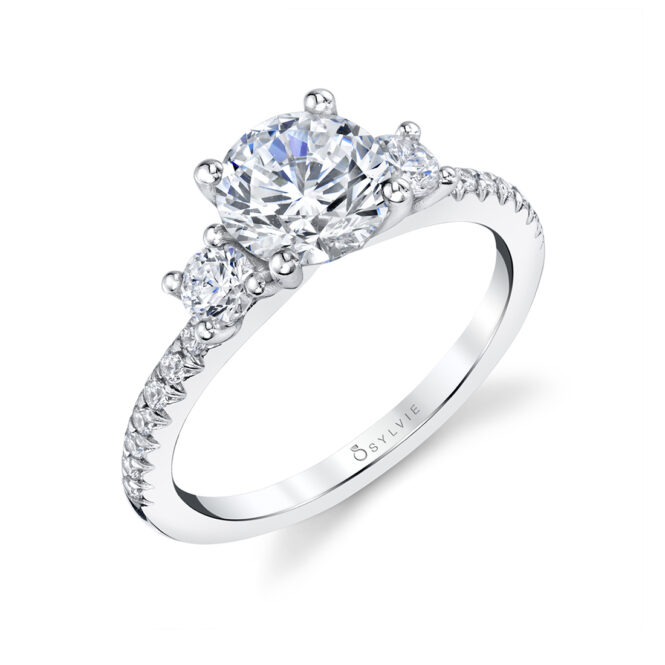3 Stone Engagement Ring with Side Stones